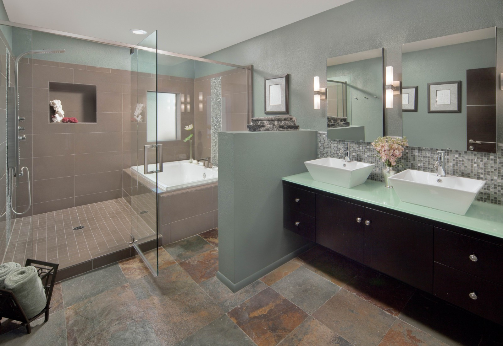 Revamping your master bathroom peter mickus for Small master bathroom
